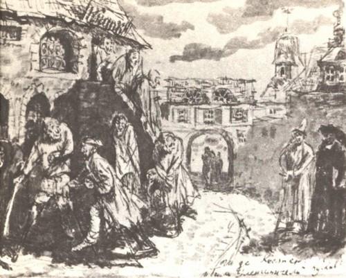И. Кусков. 16 лет. Иллюстрация к Тилю Уленшпигелю. Тушь. 1943.