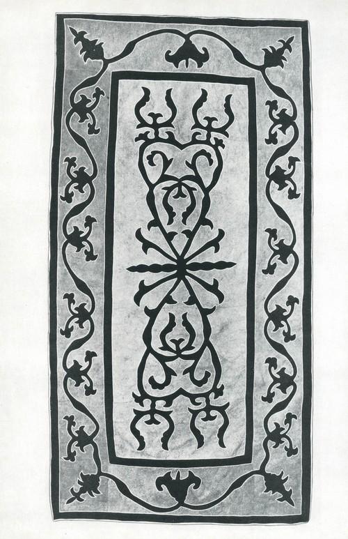 Ковер. Шерсть, прорезной и вшитый войлок. Аварцы. 1940—1950. Деталь