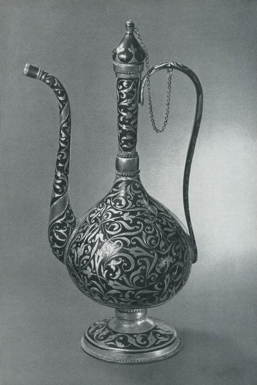 Кувшин для розовой воды, серебро, чернь, гравировка, Мастер Джамалутдинов 1960
