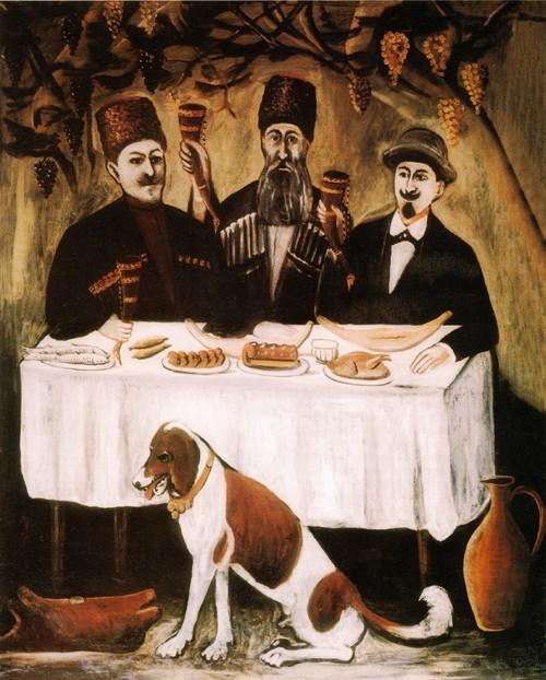 Кутеж в виноградно й беседке . Государственный музей искусств Грузии , Тбилиси