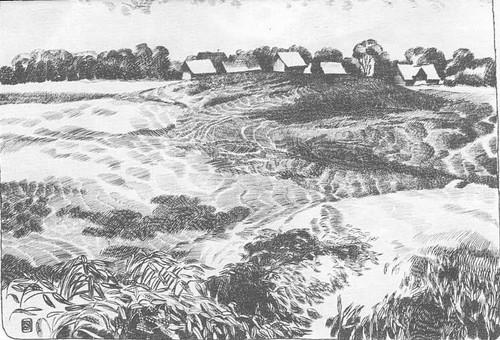 К. Добрайс. Латвийская деревня. Тушь, перо. 1969.
