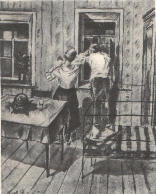 К. Петров-Водкин. Первый эскиз картины «1919 год. Тревога». Разбавленная тушь. 1925