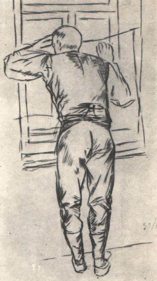 К. Петров-Водкин. Рисунок фигуры рабочего для картины «1919 год. Тревога. Карандаш. 1934.