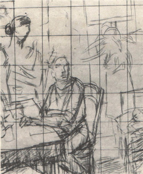 К. Петров-Водкин. Эскиз картины «1919 год. Тревога. Карандаш. 1934.