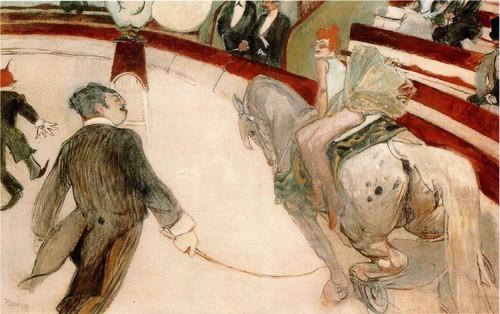 Мсье Луайаль и Сюзанна Валадон Фигура укротителя, известного как месье Луайаль, расположенная на первом плане картины, представлена в зарисовке пером; вверху - поза очень близка к окончательному варианту фигуры. Название маленького рисунка-6 цирке. Месье Луайаль(Париж, Отдел графического искусства Лувра, около 1 887). Женщина на картине - это Сюзанна Валадон, модель и наездница, которую представил Лотреку художник Федерико Зандоменеги.