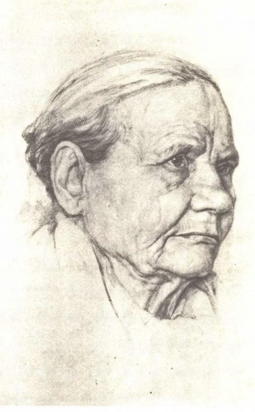 М. Никонов. 14 лет. Портрет старухи. Карандаш. 1942.