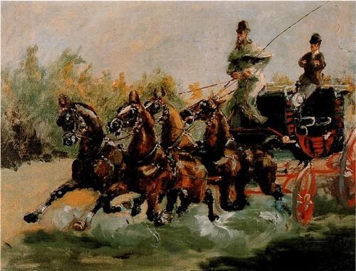 Образ отца В небольшой композиции маслом, созданной, когда ему было всего шестнадцать лет, Тулуз-Лотрек оставил нам воспоминание об образе отца - Граф де Тулуз- Лотрек правит четверкой лошадей (около! 880, Париж, Музей Пти Пале).