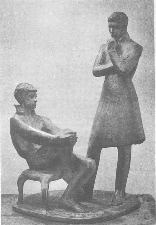 О. Комов. Пушкин и Пущин. Металл. 1966.