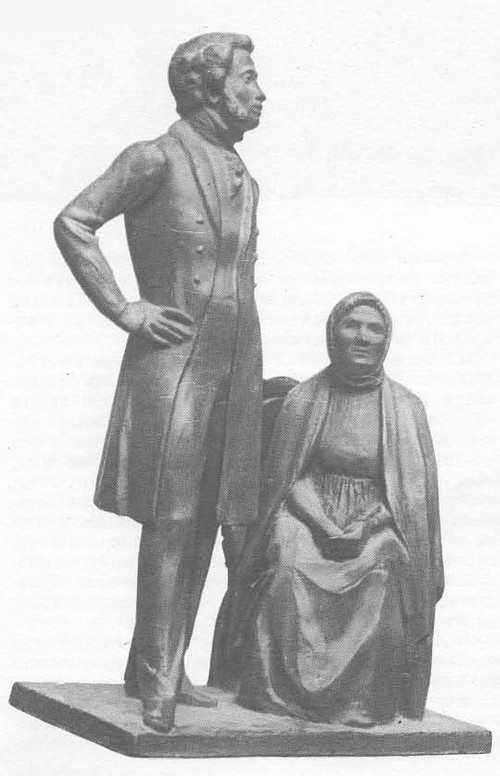 О. Комов. А. С. Пушкин и няня. Гипс. 1979.