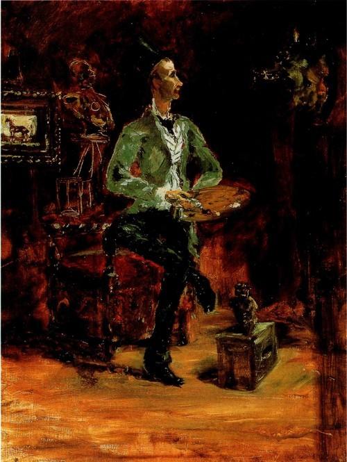 Первый учитель С 1 878 по 1 882 год художник обучался под руководством Рене Пренсто, живописца, специализировавшегося на изображении животных. Слева - Портрет Пренсто в его мастерской (ок. 1 881), написанный Тулуз-Лотреком.