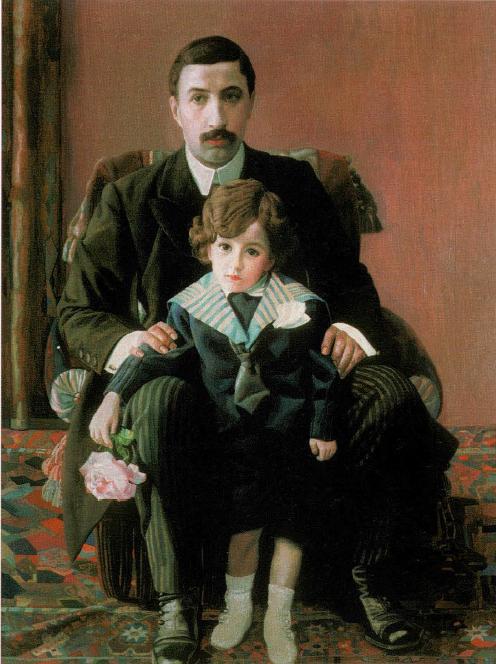 Портрет Армана Францевича Азибера с сыном . 1915