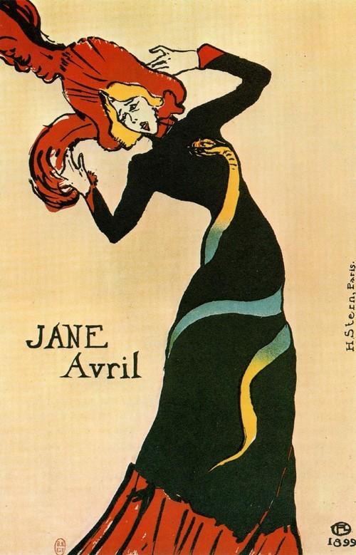Предпоследняя афиша Для своих последних выступлений Жанна Авриль попросила Тулуз-Лотрека сделать афишу в качестве рекламы этого события. Вполне отвечавшая стилю модерн, она была предпоследним плакатом художника. Певица в элегантном синем платье с красной оборкой двигается покачиваясь, почти танцуя. Рядом - Жанна Авриль (1 899, Брюссель, Музей Икселль). На соседней странице - Жанна Авриль (1 893, Брюссель, Музей Иксель). Афиша, в которой проявляется влияние японской графики, считается одной из самых знаменитых в творчестве Тулуз-Лотрека. Созданная для того, чтобы приглашать посетителей в новое кабаре (Divan japonais), афиша Звезды Диван Жапоне (1 892—1 893, Париж, Кабинет эстампов) - рядом - изображает Жанну Авриль и музыкального критика Дюжардена. На заднем плане видны знаменитые черные перчатки певицы Иветт Гильбер. Внизу: на фотографии около 1 887 года снят Тулуз-Лотрек с двумя подружками, когда он пьет вино в беседке из растений в Мулен дела Галетт.