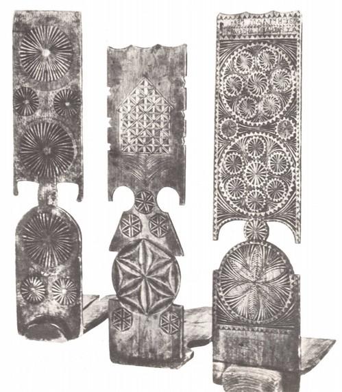 Прялки с геометрической резьбой. Тверская губерня 1910-1920 гг.