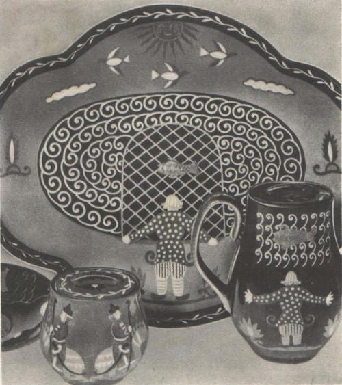 П. Леонов. Сервиз «Сказка о рыбаке и рыбке». 1935.