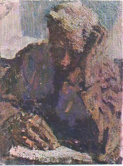 Седой боец. Этюд П.А. Ткачева. Масло. 1958