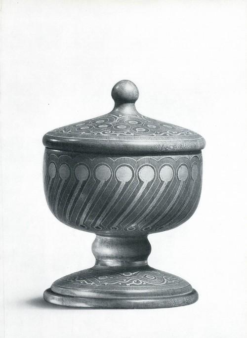 Солонка с инкрустацией. Абрикосовое дерево, насечка мельхиором, кость. Аварцы, с. Унцукуль. 1969