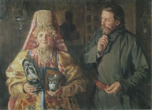 С праздником (Зарделась) . 1911
