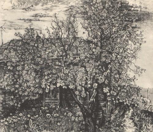С. Никиреев. Яблоня цветет. Офорт. 1978.
