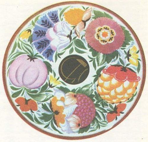 С. Чехонин. Блюдо с эмблемой в венке цветов. Фарфор. 1918.