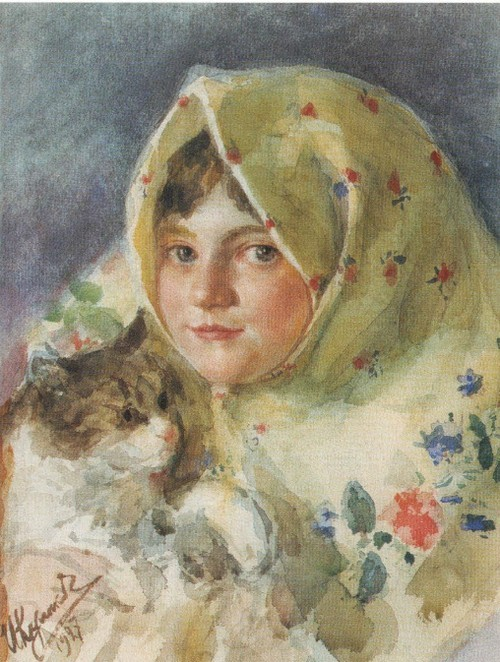 Таня с кошкой . 1927