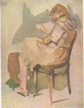 Т. Яблонская. Девушка на стуле с книгой. Акварель. 1935.