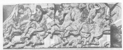 Фидий и его школа. Всадники. Фрагменты западного фриза Парфенона. Мрамор. 447—438 гг. до н. э. Лондон. Британский музей.