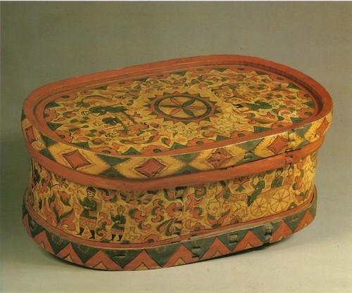 Фрагмент росписи крышки хлебницы. Застолье