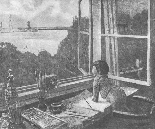 Ф. Решетников. Из окна. Масло. 1970.