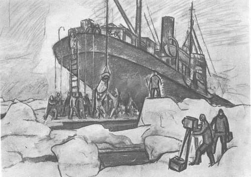 Ф. Решетников. Ремонт «Сибирякова» во льдах. Уголь. 1932.