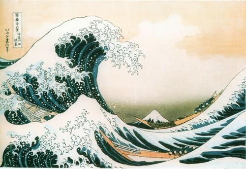 В морских волнах у Кнаrава (Большая волна) . Из серии Тридцать шесть видов Фудзи. 1823-1831