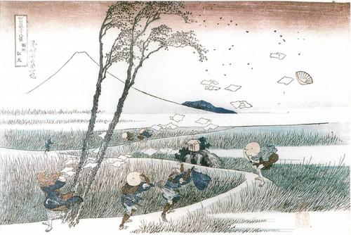 Эдзири в Суруга (Порыв ветра) Из серии Тридцать шесть видов Фудзи. 1823-1831