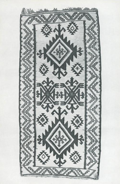 Циновка. Болотная осока, шерсть, плетение. Аварцы, с. Урма. 1940. Деталь