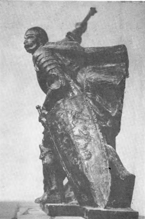 А. Вивульский, М. Конечный. Воин. Грюнвальдский памятник. Патинированный гипс. 1974.