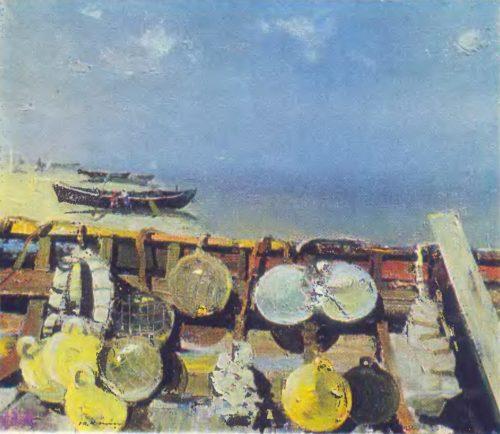 Э. Калныныш. Морской натюрморт. Масло. 1969