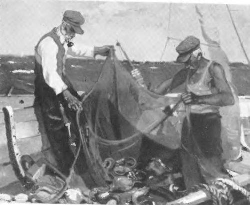 Э. Калныныш. после улова. Масло. 1945