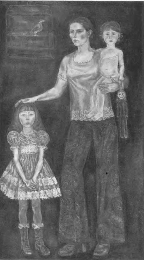 К. Нечитайло. Автопортрет с дочерьми Марией и Анастасией. Масло. 1976.