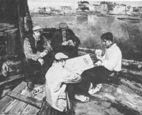 Э. калныныш. Плотовщики. Масло. 1935
