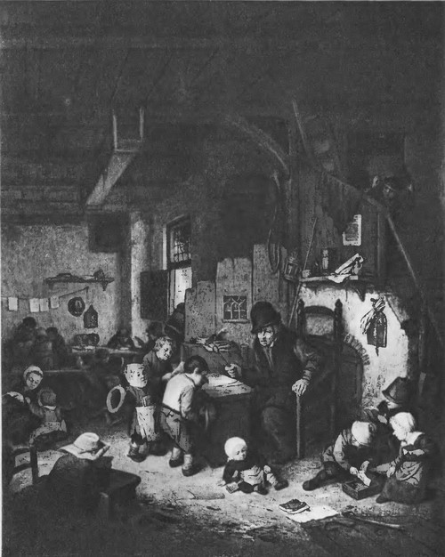 26. Школа. 1662 г. Дерево, масло. 40x33. Париж. Лувр
