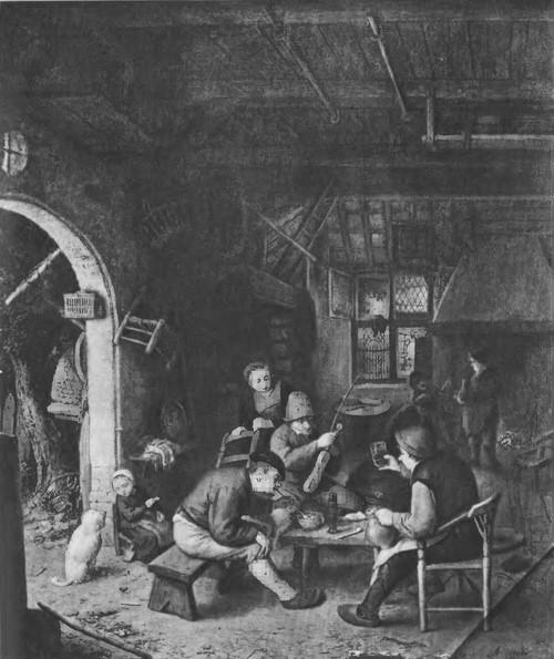 27. Крестьяне в шинке. 1662 г. Дерево, масло. 47,5x39. Гаага. Маурицхейс