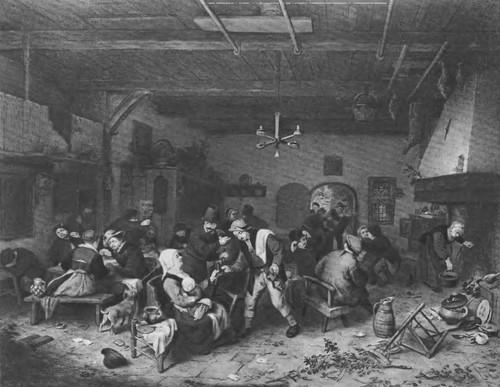 33. Мужчины и женщины в трактире. 1679 \ги Дерево, масло. 49,5x62,5. Дрезден. Картинная галерея