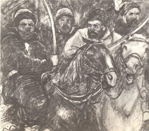 Л. Котляров. 16 лет. Эскиз к «Пугачевщине». Карандаш. 1941.