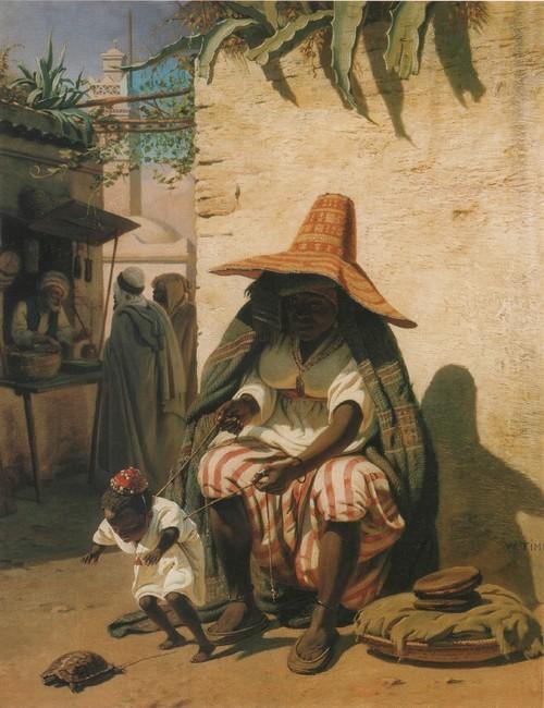 Алжирка учит дитя