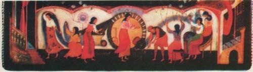 А. Клипов. Шкатулка «Город-ткач». Фрагмент. 1978.