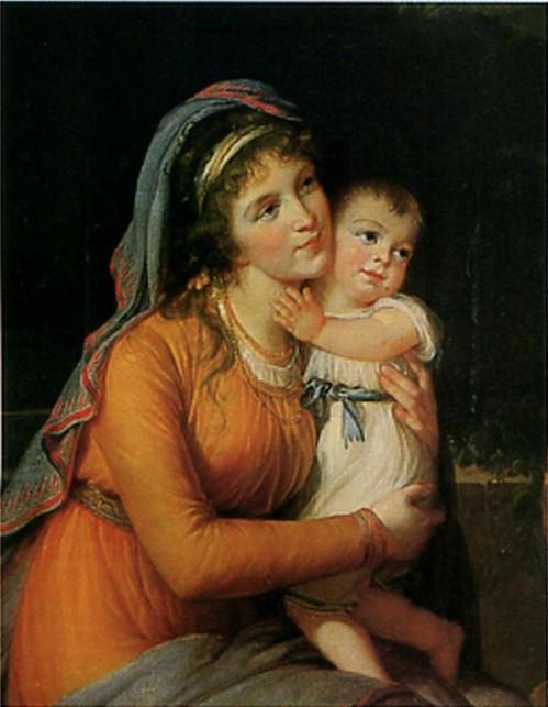 Баронесса А.С. Строганова. (урожденная Трубецкая с сыном)