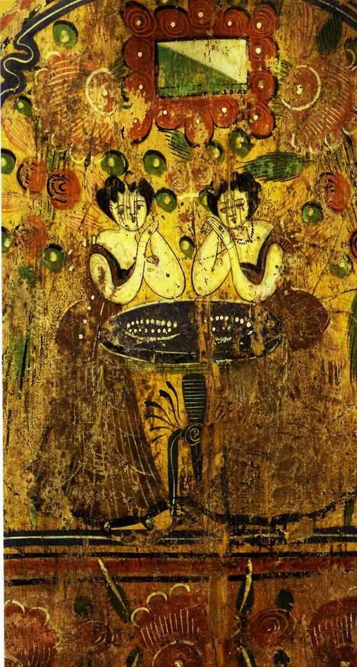 Барыньки. Расписное прялочное донце. XIX век