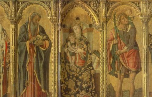 Витторе Кривелли Мадонна с младенцем в окружении святых Полиптих. Около 1440—1501/02 Дерево, темпера. 1,13X1,90