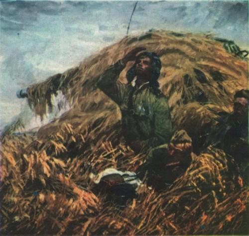 В. Дмитриевский. В небе журавли. Масло. 1979.
