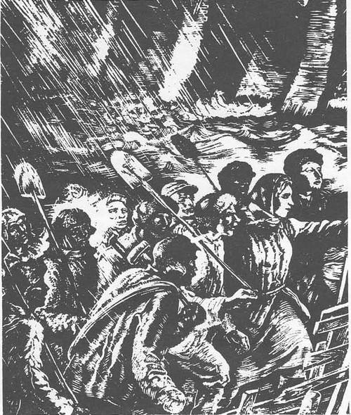 В. Касиян. Днепрострой. На штурм прорыва. Гравюра на дереве. 1934.