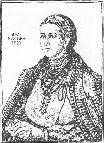 В. Касиян. Крестьянка из Покутья. Гравюра на дереве. 1925.