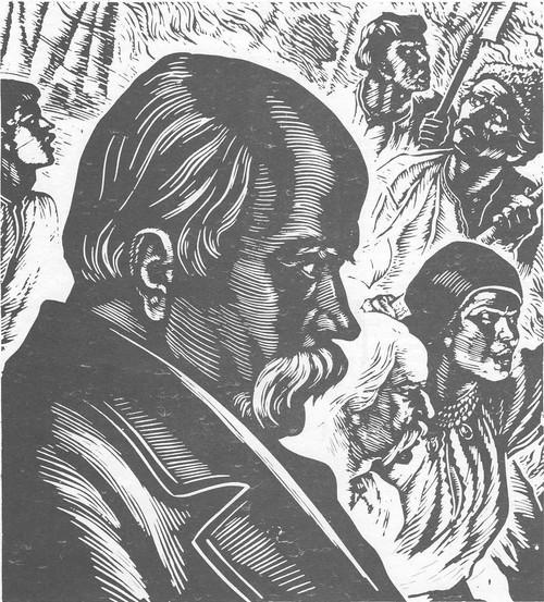 В. Касиян. Тарас Григорьевич Шевченко. Линогравюра. 1960.